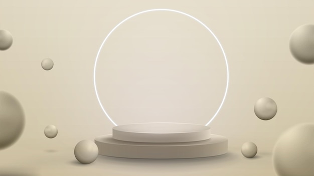 3d render illustration with abstract scene with neon white ring around podium. abstract room with 3d spheres