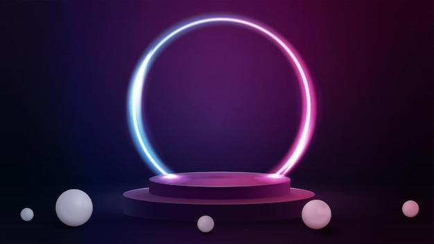 3d визуализация иллюстрация с розовой и синей сценой с реалистичными сферами и большим градиентным неоновым кольцом вокруг подиума.