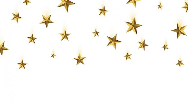 3d представляют, изолированные падающие звезды золота на белой предпосылке. золотая эмблема победы. символ лучшего и победителя. концепция ранжирования для разных мест