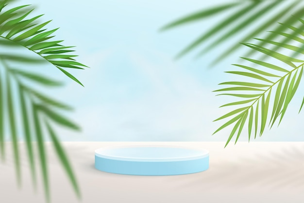 3d render light blue podium for product display with decorative palm leaves on light blue background
