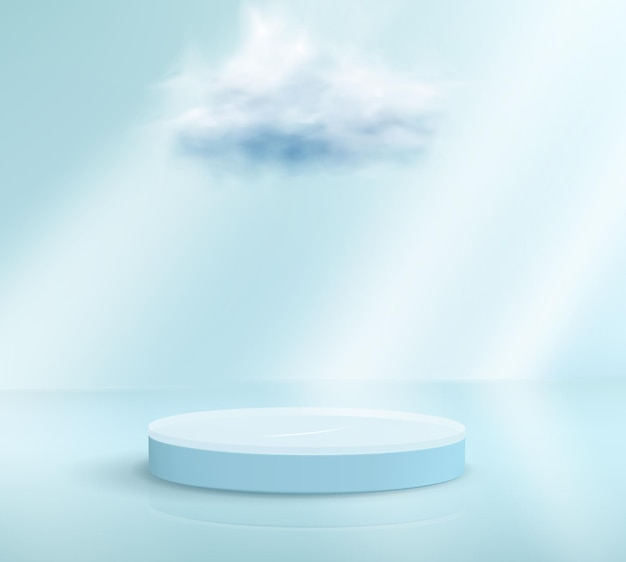 3d render light blue podium with a cloud floating over it on light blue background