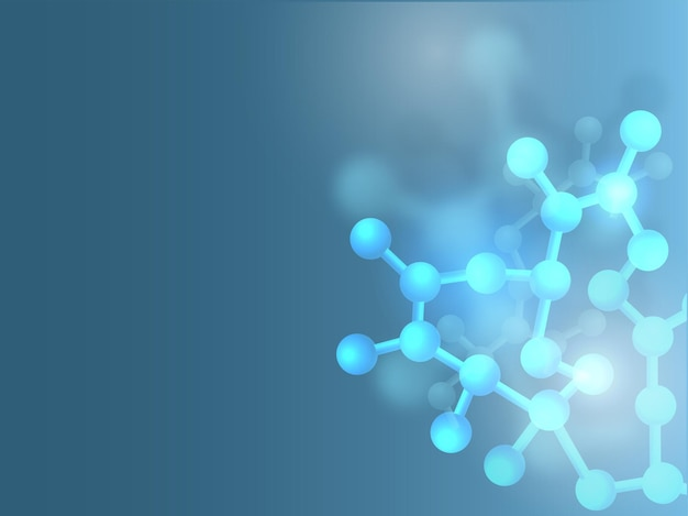 3d or render molecules with copy space background in blue color.