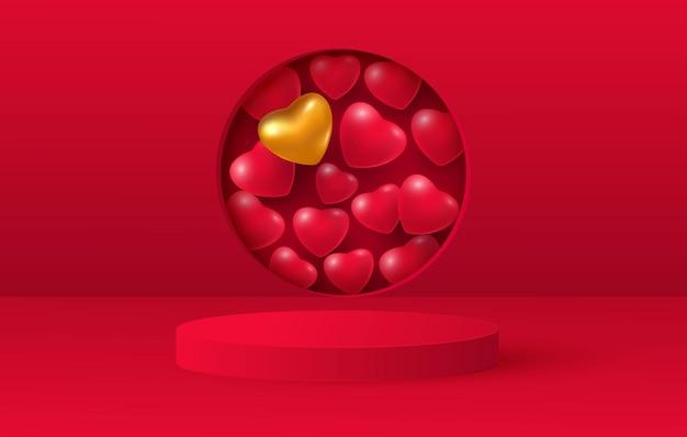 사랑 발렌타인 단계 배경 또는 질감의 3d 렌더링