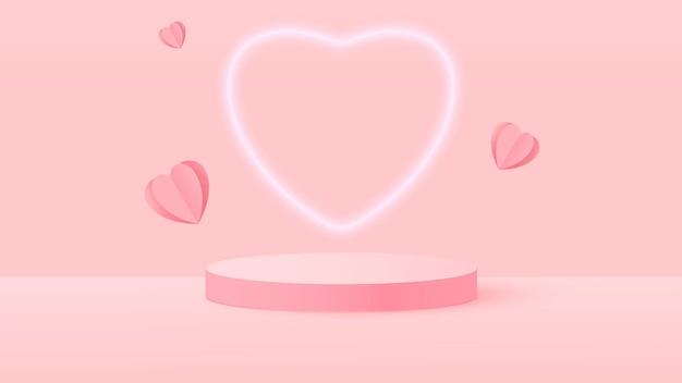 3d визуализация розовой любви валентина пастельных сценических иллюстраций
