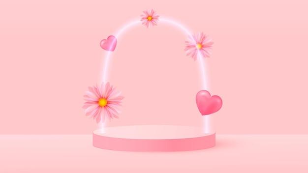ピンクの愛のバレンタインパステルステージイラストの3dレンダリング