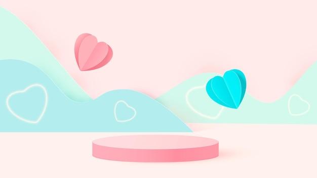 3d render of pink love valentine pastel stage illustration