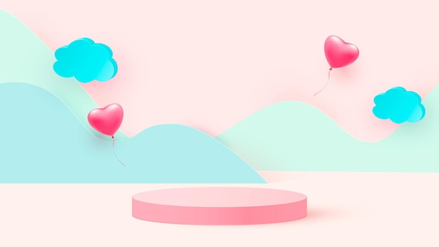 3d render of pink love valentine pastel stages