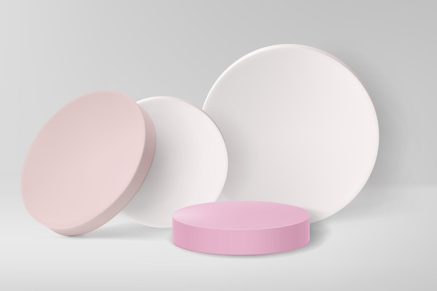 3d render pink podium with light pink and white round shapes on white background