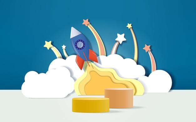 3d визуализация подиум с фоном концепции космического челнока для детей или дисплея детских товаров.