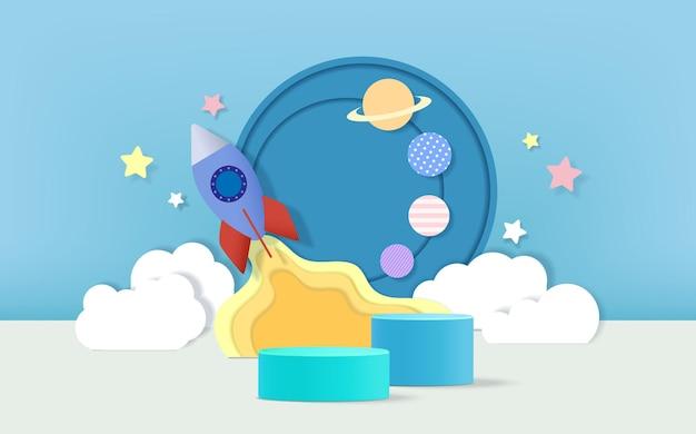 3d 렌더링 연단에는 어린이 또는 유아용 제품 전시를 위한 우주 왕복선 개념 배경이 있습니다.
