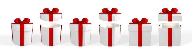 赤いリボンが付いたリアルなギフトボックスを3dレンダリングします。赤いリボンと白い背景で隔離の影と紙箱。ベクトルイラスト。