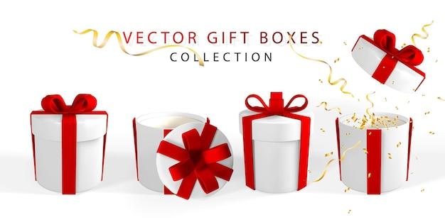 3d는 붉은 나비가 있는 현실적인 선물 상자를 렌더링합니다. 빨간 리본과 그림자 흰색 배경에 고립 된 종이 상자. 벡터 일러스트 레이 션.