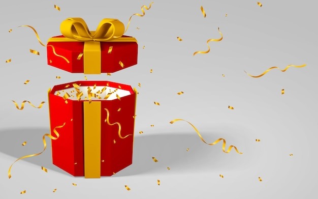 3d render realistic red gift box with yellow bow. paper box with red ribbon and shadow isolated on gray background. vector illustration.