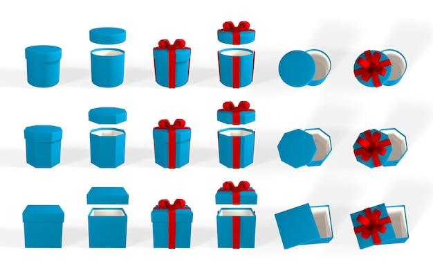 3dレンダリングは、赤いリボンが付いた青いギフトボックスのリアルなセットです。赤いリボンと白い背景で隔離の影と紙箱。ベクトルイラスト。