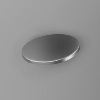 3d render silver geometric shape cylinder with shadows isolated on grey background. metal glossy realistic primitive. abstract decorative vector figure for trendy design.