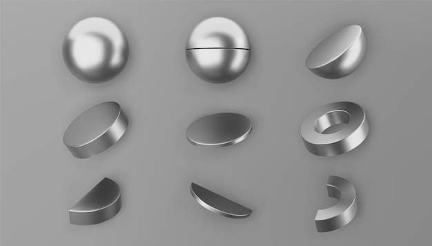 3d render silver geometric shapes objects set isolated on grey background. metal glossy realistic primitives - sphere, cylinder, pipe with shadows. abstract decorative vector figure for trendy design.