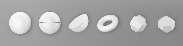 3d 렌더링 흰색 기하학적 모양 개체 집합에 고립 된 회색 배경. 단색 흰색 사실적인 기본체 - 구체, 그림자가 있는 원환체. 최신 유행 디자인을 위한 추상 장식 벡터 그림