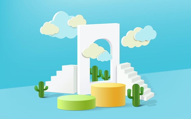 3d rendering, abstract minimal stage for product display present background.