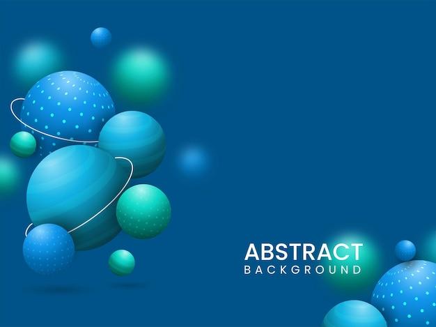 抽象的な青い背景に飾られた3dレンダリングボールまたは球。