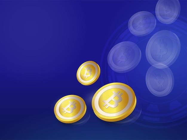 3d rendering golden bitcoins on blue background.
