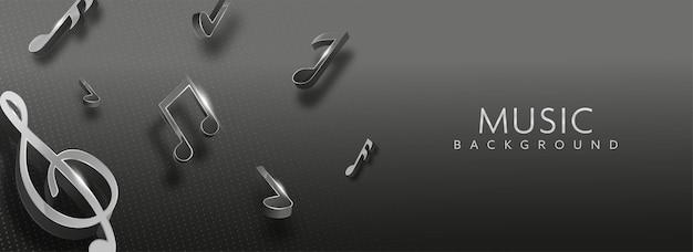 검은 줄무늬 패턴 배경에 장식 된 3d 렌더링 음악 노트. 배너 또는 헤더 디자인.