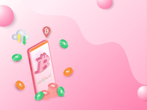 3d-рендеринг смартфона с крипто-монетами и облачными вычислениями на розовом фоне.