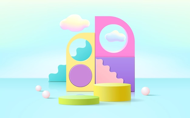 3d rendering of podium and abstract geometric with empty space for kids or baby product.