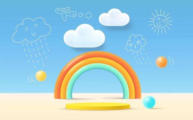 3dレンダリングの表彰台の子供スタイル、カラフルな背景、雲、天気、子供やベビー用品用の空きスペース