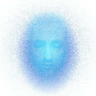 3d rendering of robot face with numbers represent artificial intelligence.