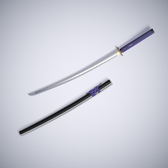 3d rendering of a traditional samurai sword