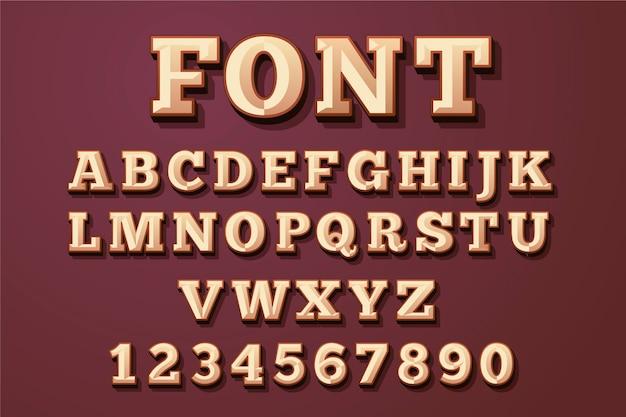 3d retro alphabet concept