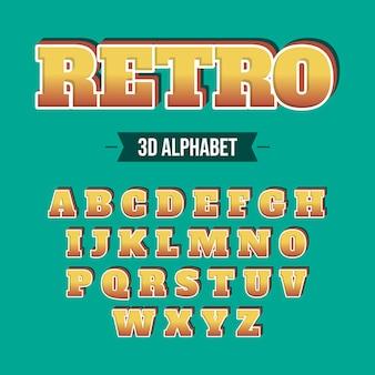3 dレトロなアルファベットコンセプト
