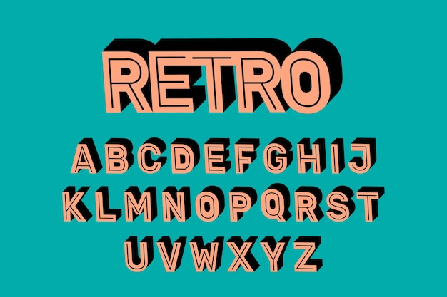 3d retro alphabet design