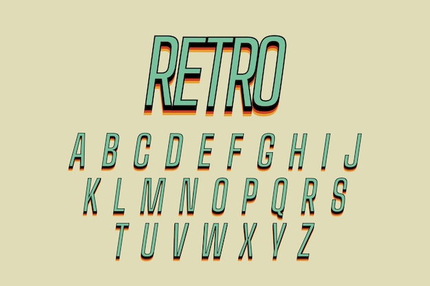 3d retro alphabet theme