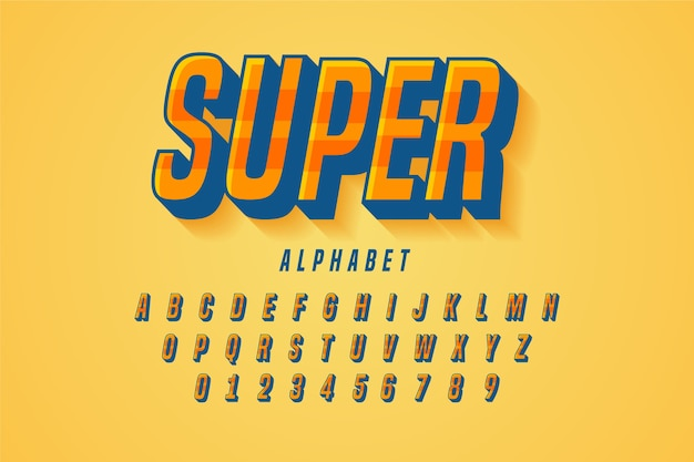 3d retro alphabet