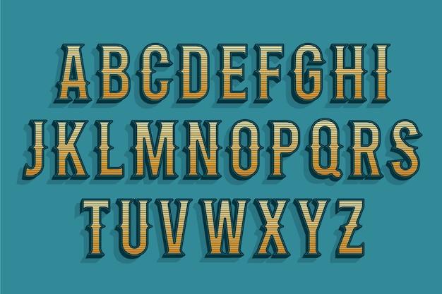 3d ретро алфавит