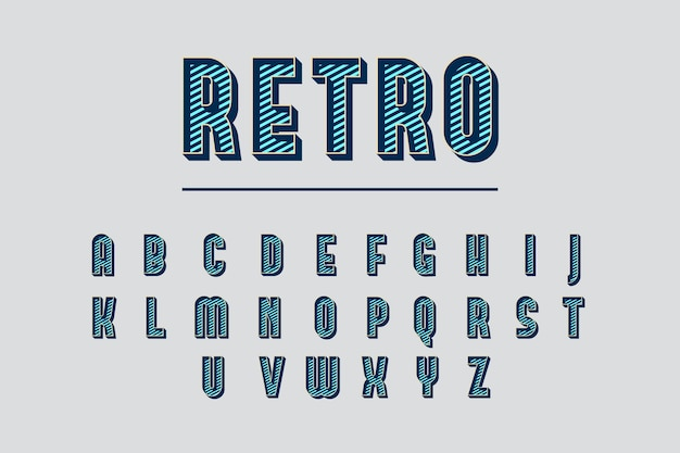 3d retro alphabetical concept