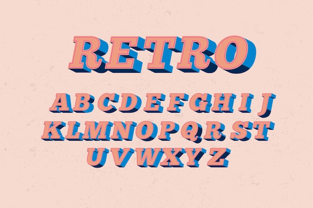 3d retro alphabetical style