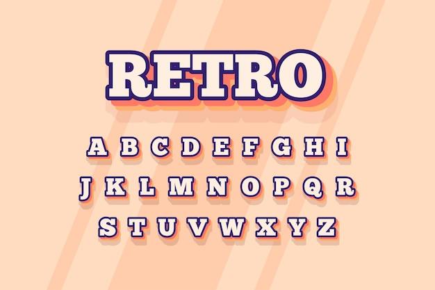 3d retro style for alphabet