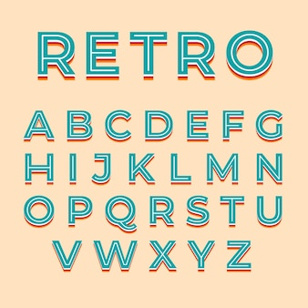 3d retro style for alphabet
