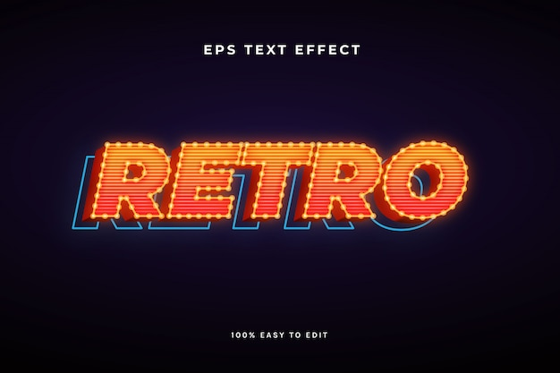 3d retro with light bulb text effect
