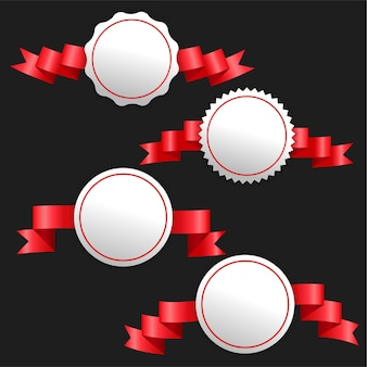 3d ribbons red banners with text space