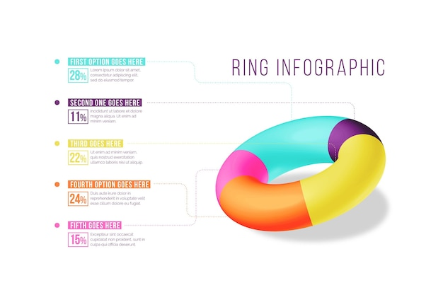 3d ring infographic concept