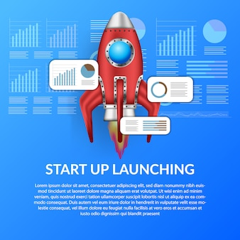 ビジネスコンセプト図テンプレートを起動するための3 dロケット打ち上げ