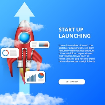 3d rocket launch. grow business fastest with stats data info graphic analysis