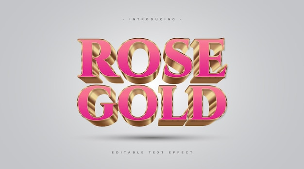 3d rose and gold text style effect