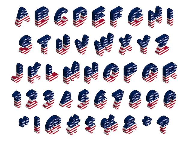 3 dの丸みを帯びた等尺性アメリカ国旗フォント、文字、数字、記号、標識、ストックイラストクリップアート