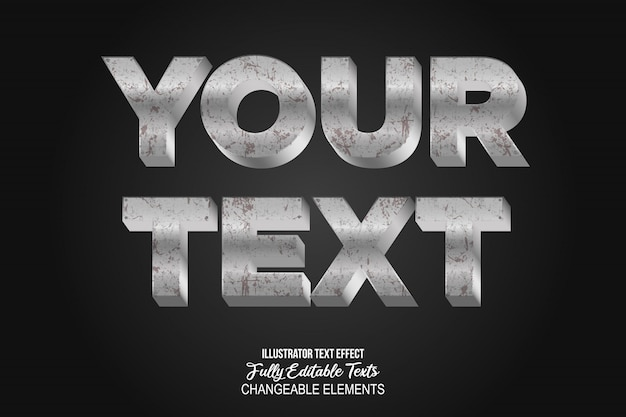 3d rusty metal text effect graphic style