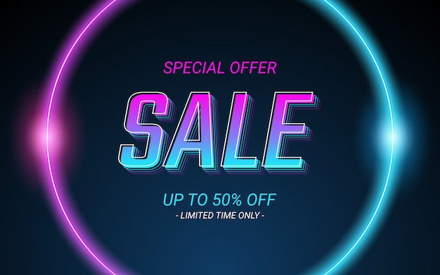 3d sale label text in glowing circle neon light color effect