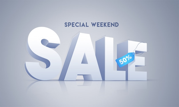 3d sale text with 50% discount tag on glossy grey background for special weekend. advertising banner design.